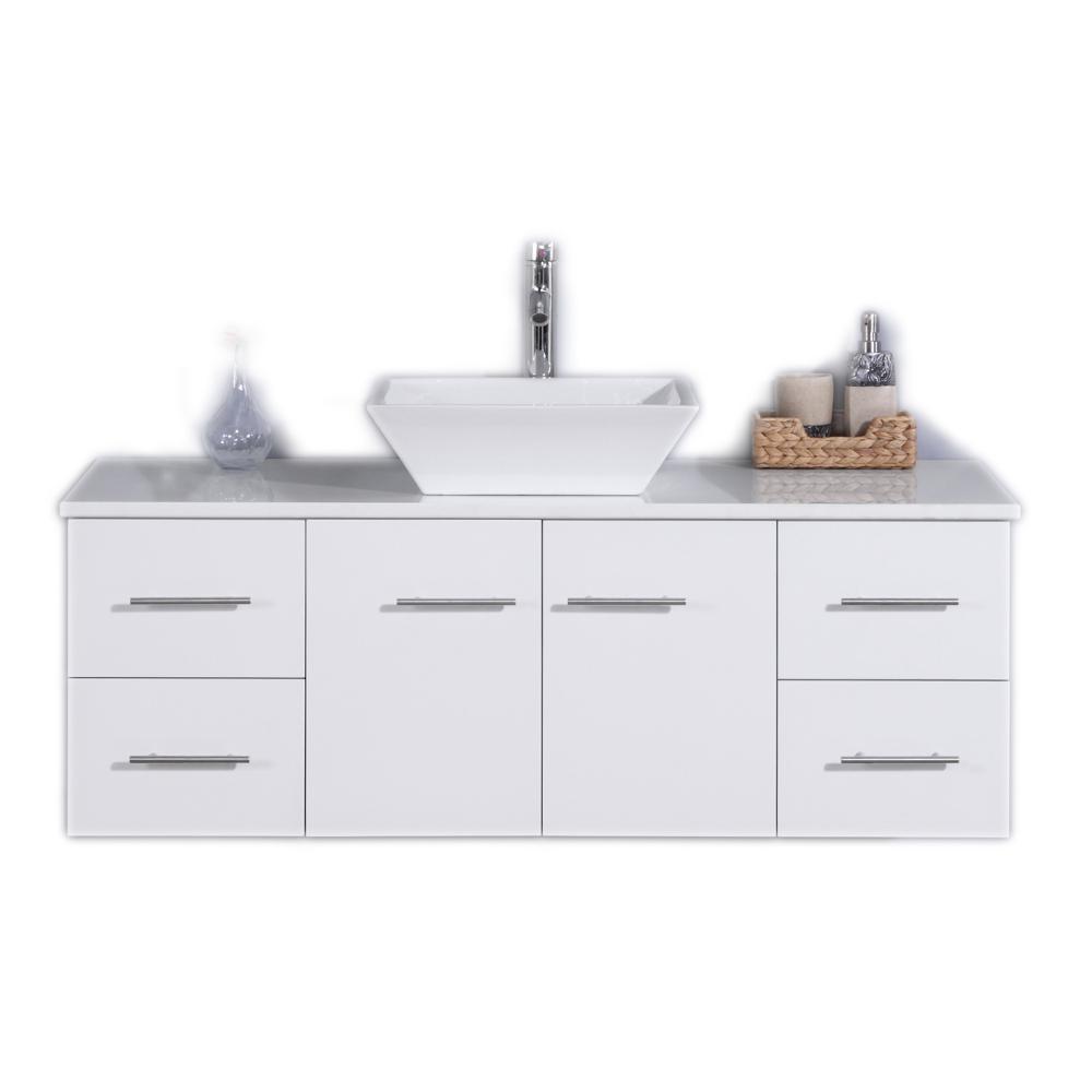 Totti Wave 48 in. W x 21 in. D x 22 in. H Vanity in White with Glassos Vanity Top in White with White Basin