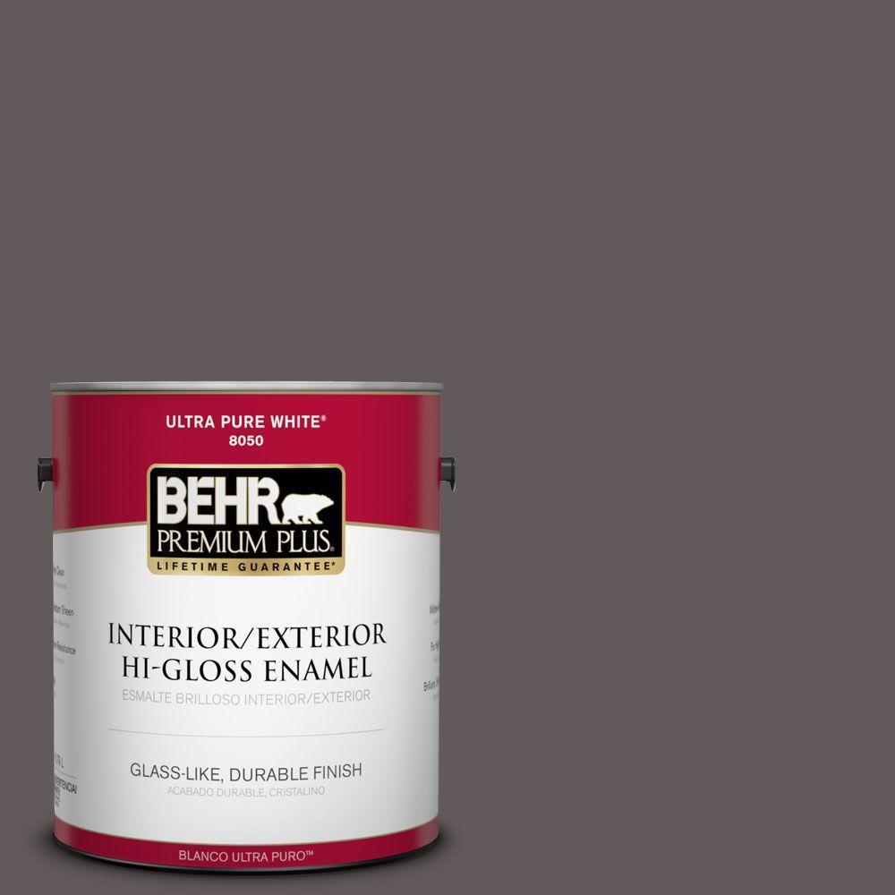 BEHR Premium Plus 1-gal. #T14-10 Coffee Bar Hi-Gloss Enamel Interior/Exterior Paint