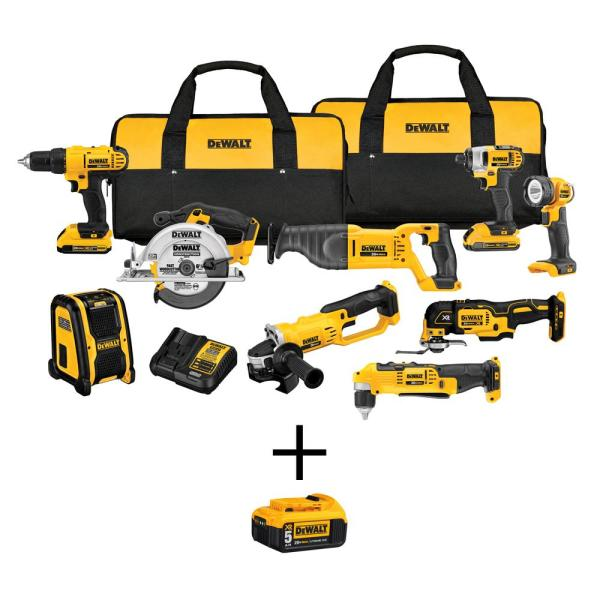 20-Volt MAX Lithium-Ion Cordless Combo Kit (9-Tool), (2) 2Ah Batteries, Charger, with Bonus 20-Volt 5.0 Ah Battery