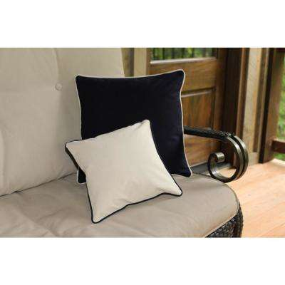 12 in. x 12 in. Navy  Standard Pillow with Green Eco Friendly Insert