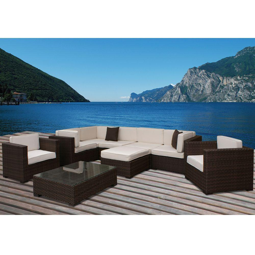 Southampton 9-Piece Patio Sectional Seating Set with Off-White Cushions