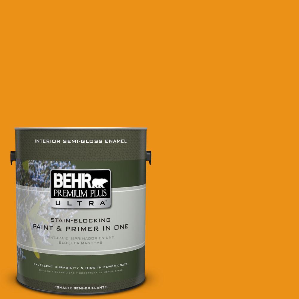 1 gal. #290B-7 Yam Semi-Gloss Enamel Interior Paint and Primer in