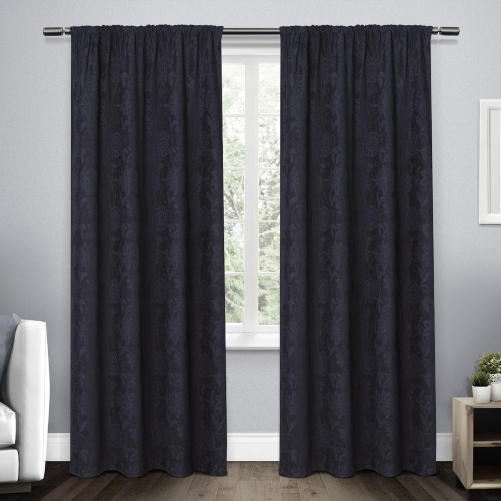 Elle Navy Heavyweight Floral Scroll Chenille Jacquard Rod Pocket Top Window Curtain