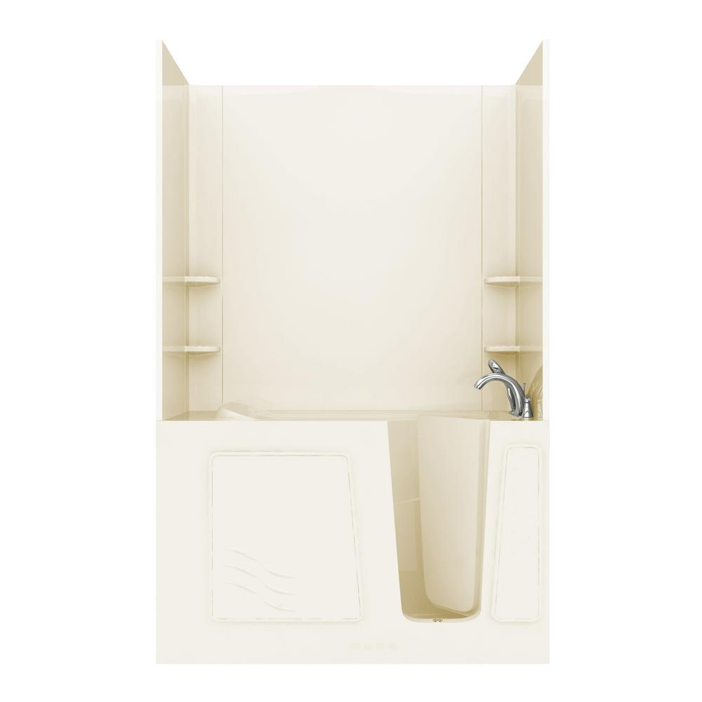 Universal Tubs Rampart 5 ft. Walk-in Whirlpool and Air Bathtub with Flat Easy Up Adhesive Wall Surround in Biscuit