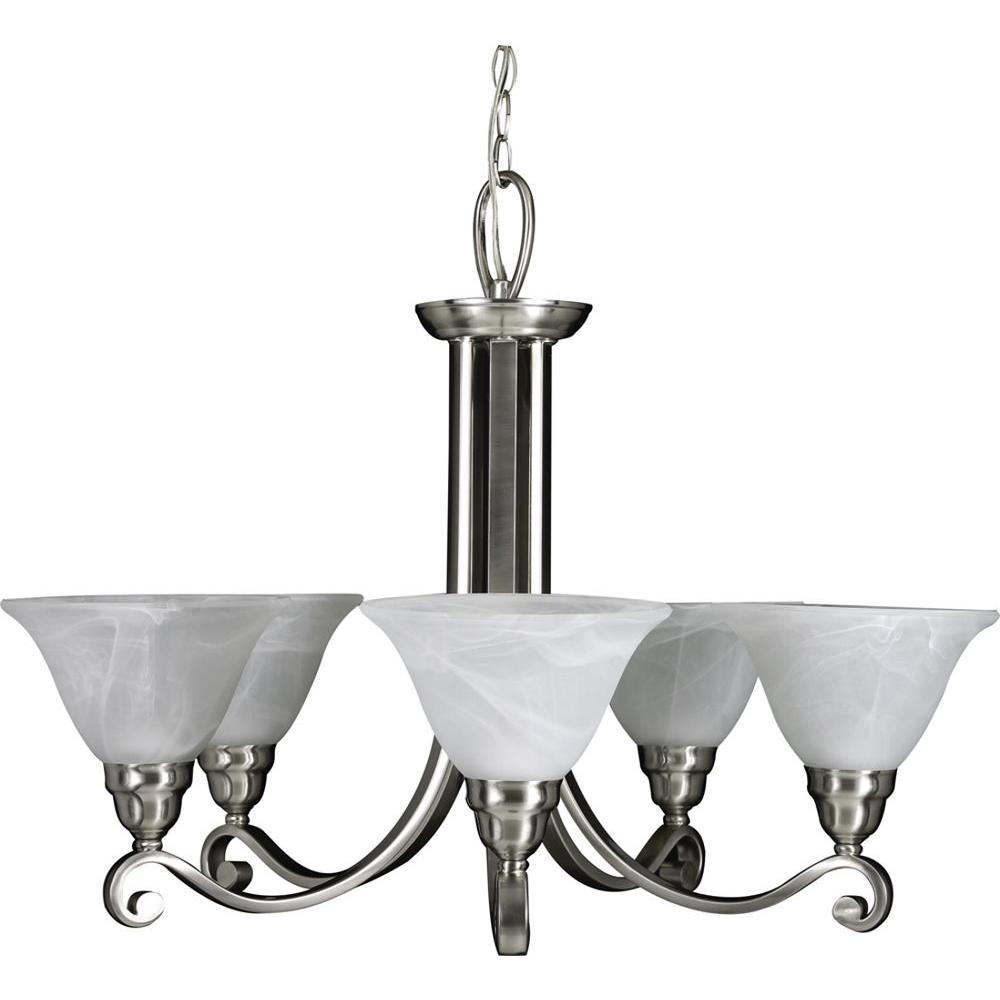 5-Light Brushed Nickel Interior Chandelier