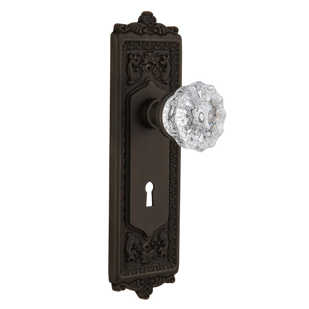 Egg and Dart Plate with Keyhole 2-3/8 in. Backset Oil-Rubbed Bronze