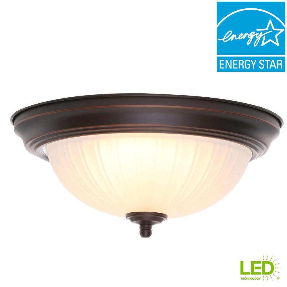 Commercial electric 11 in 100 watt equivalent oil rubbed bronze integrated led flush