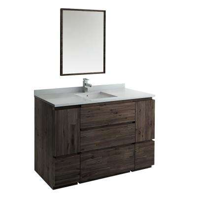 Formosa 54 in. Modern Vanity in Warm Gray with Quartz Stone Vanity Top in White with White Basin and Mirror