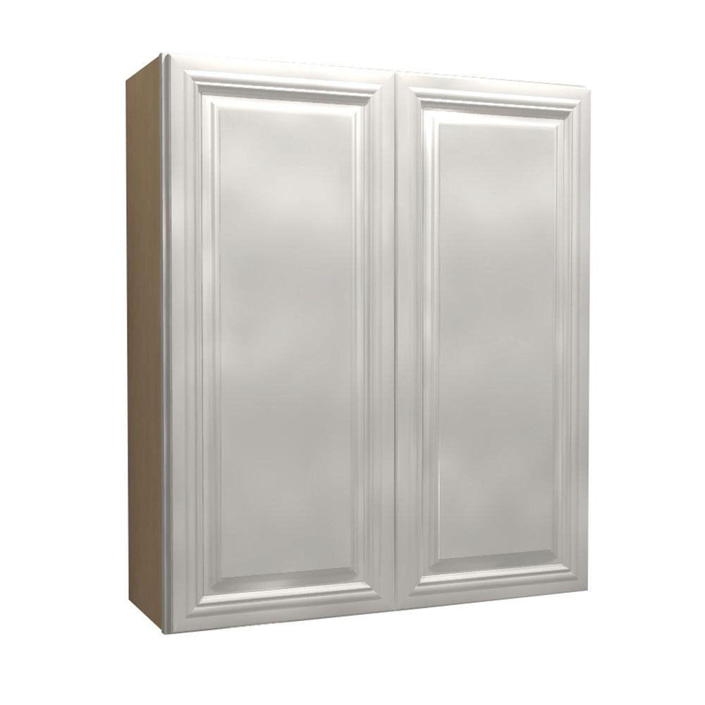 Home Decorators Collection Coventry Assembled 36x42x12 in. Double Door Wall Kitchen Cabinet in Pacific White