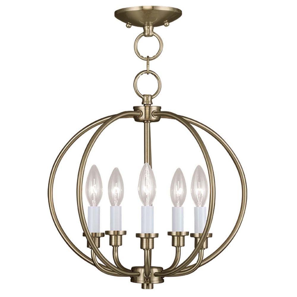 Filament Design Providence 5-Light Antique Brass Incandescent Ceiling Semi-Flush Mount Light Convertible Pendant