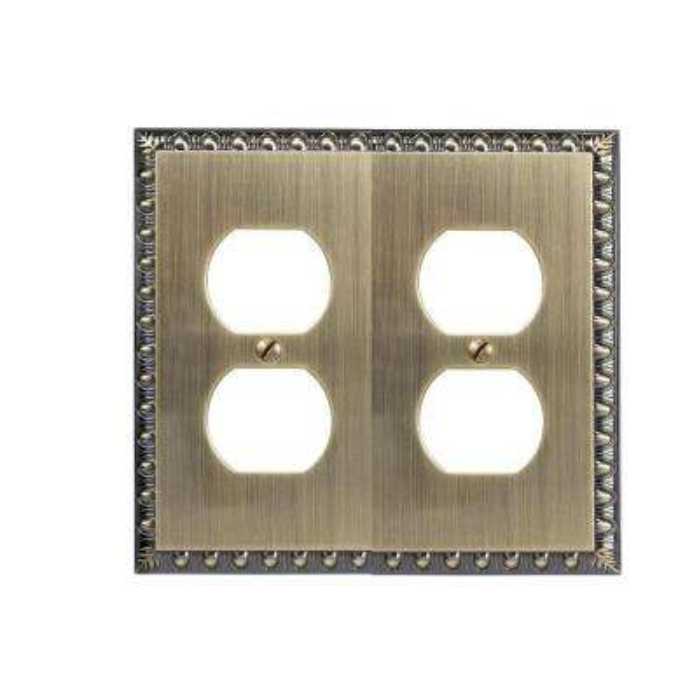 Renaissance 2 Duplex Wall Plate - Brushed Brass