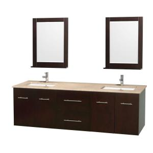 Wyndham Collection Centra 72 inch Double Vanity in Espresso with Marble Vanity... by Wyndham Collection