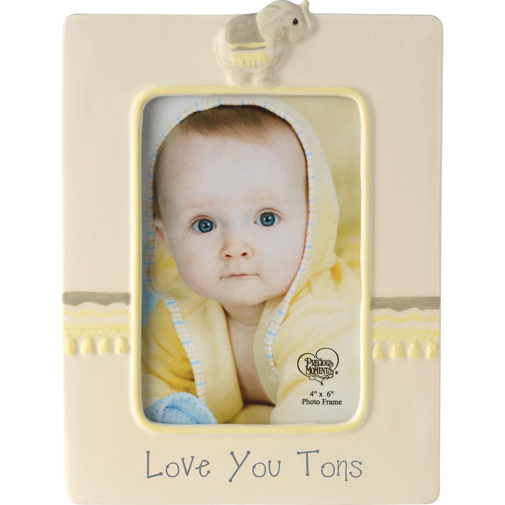 Precious Moments 4 in. x 6 in. Yellow and Gray Ceramic Love You Tons Elephant Picture Frame, Multi Surround a 4 in. x 6 in. baby photo with this sweet frame adorned with the words Love You Tons and a cute little elephant that never forgets how much you love your little blessing, The whole family will just love this adorable elephant decor, Looks just great in baby's room with our Tuk Elephant Nightlight 179304 and our Elephant Musical Snow Globe 179303. Makes a perfect gift for new baby showers birthdays and Easter, Its an easy way to pretty up baby or toddler gift baskets too. Crafted in ceramic. 8.5 in. H x 6.5 in. W. Holds 4 in. x 6 in. photo. Color: Multi.