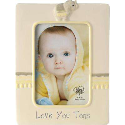 4 in. x 6 in. Yellow and Gray Ceramic Love You Tons Elephant Picture Frame