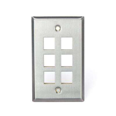 2-Gang Quickport Standard Size 6-Port Wallplate, Stainless Steel