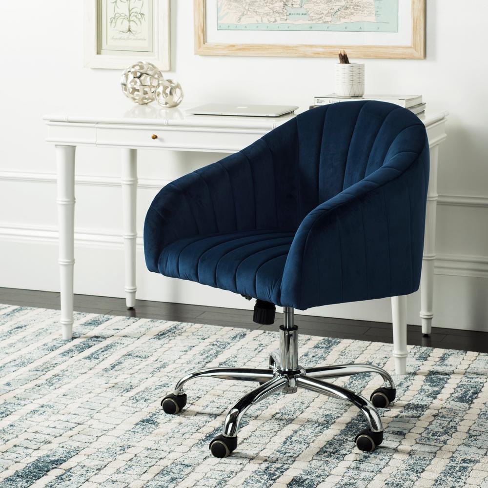Themis Navy/Chrome Velvet Swivel Office Chair