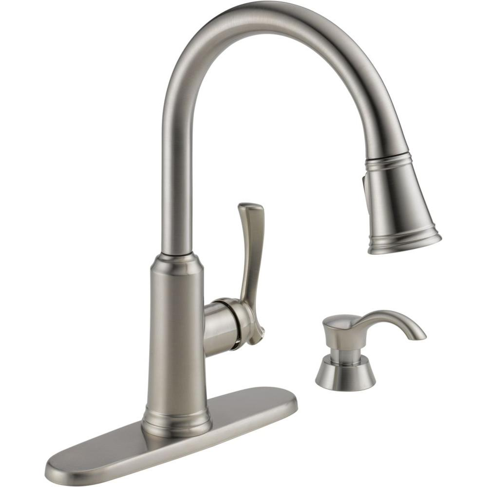 delta faucet. Delta Lakeview Single Handle Pull Down Sprayer Kitchen Faucet with Soap  Dispenser in Stainless