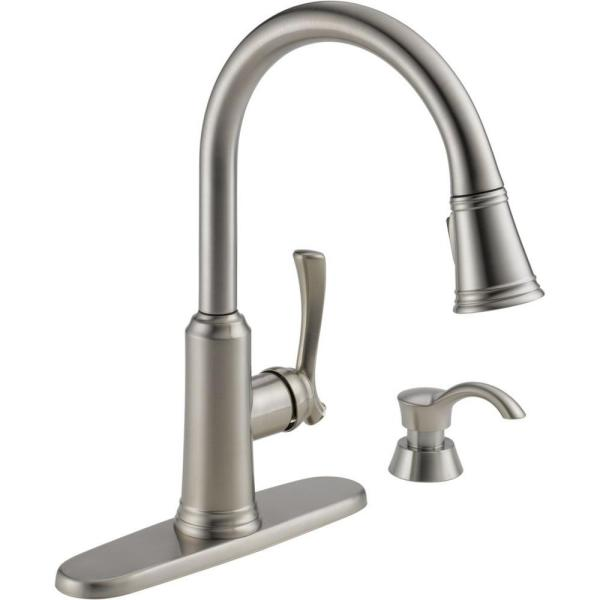 Delta Lakeview Single Handle Pull Down Sprayer Kitchen Faucet With Soap Dispenser In Stainless 19963 Sssd Dst The Home Depot