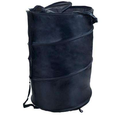 Pop-Up Laundry Hamper with Carrying Straps and Zipper in Black