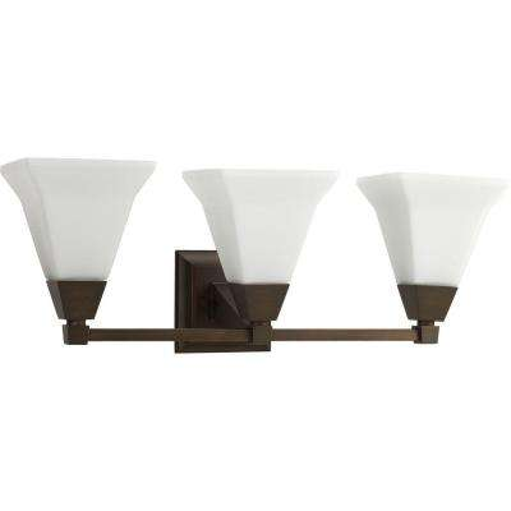 Glenmont Collection 3-Light Venetian Bronze Bathroom Vanity Light with Glass Shades