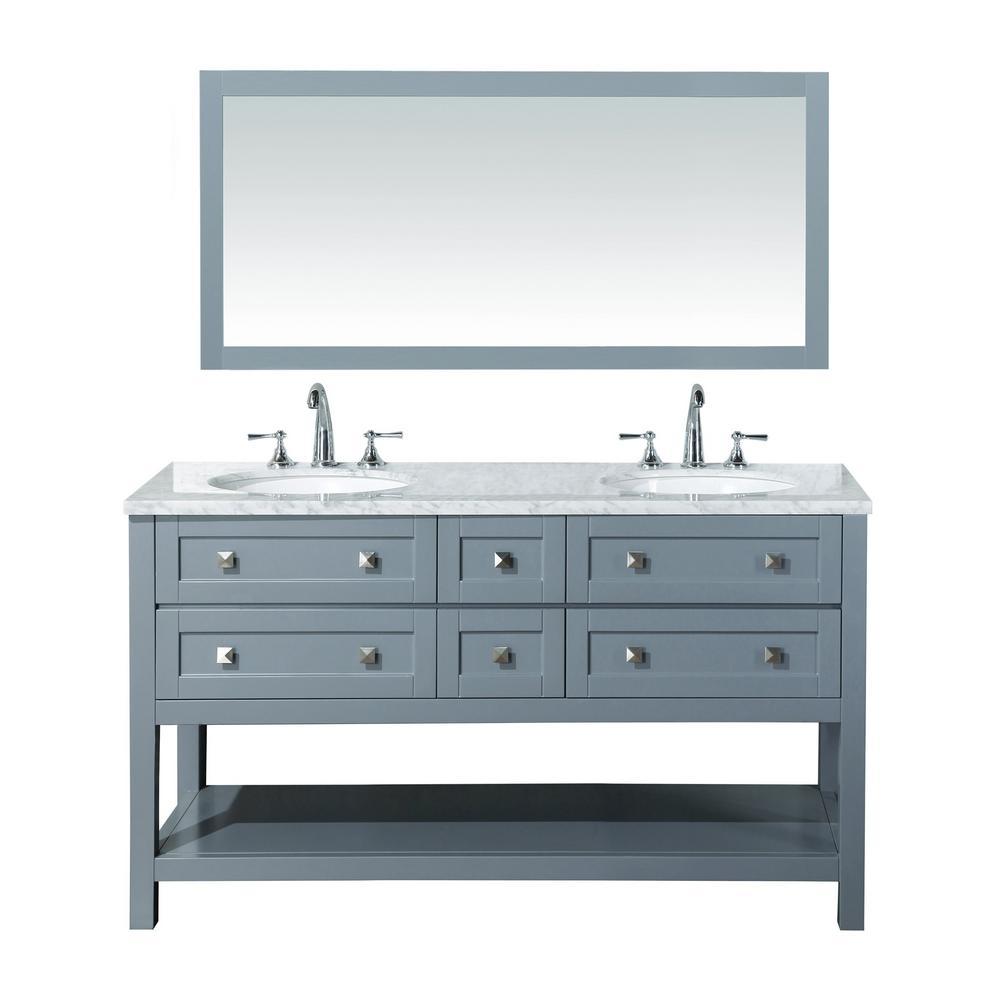 Stufurhome Vanity Grey Marble Vanity Top White Basins Mirror
