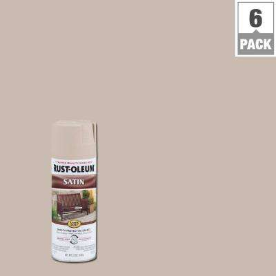 12 oz. Satin French Beige Protective Enamel Spray Paint (6-Pack)