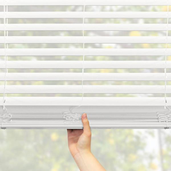 Chicology Cut To Size White Cordless Room Darkening Resists Humidity Faux Wood Blinds With 2 In Slats 33 5 In W X 48 In L Cfw Cw 33 5 48 The Home Depot