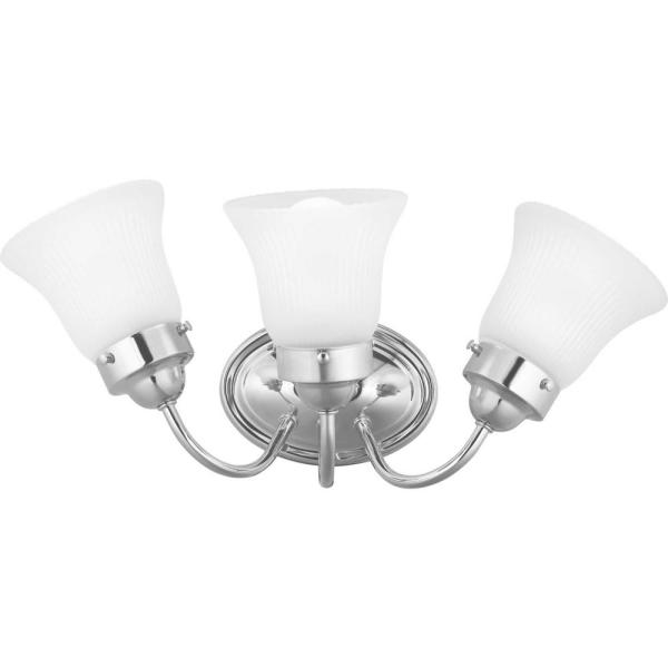Fluted Glass Collection 3-Light Chrome Vanity Light