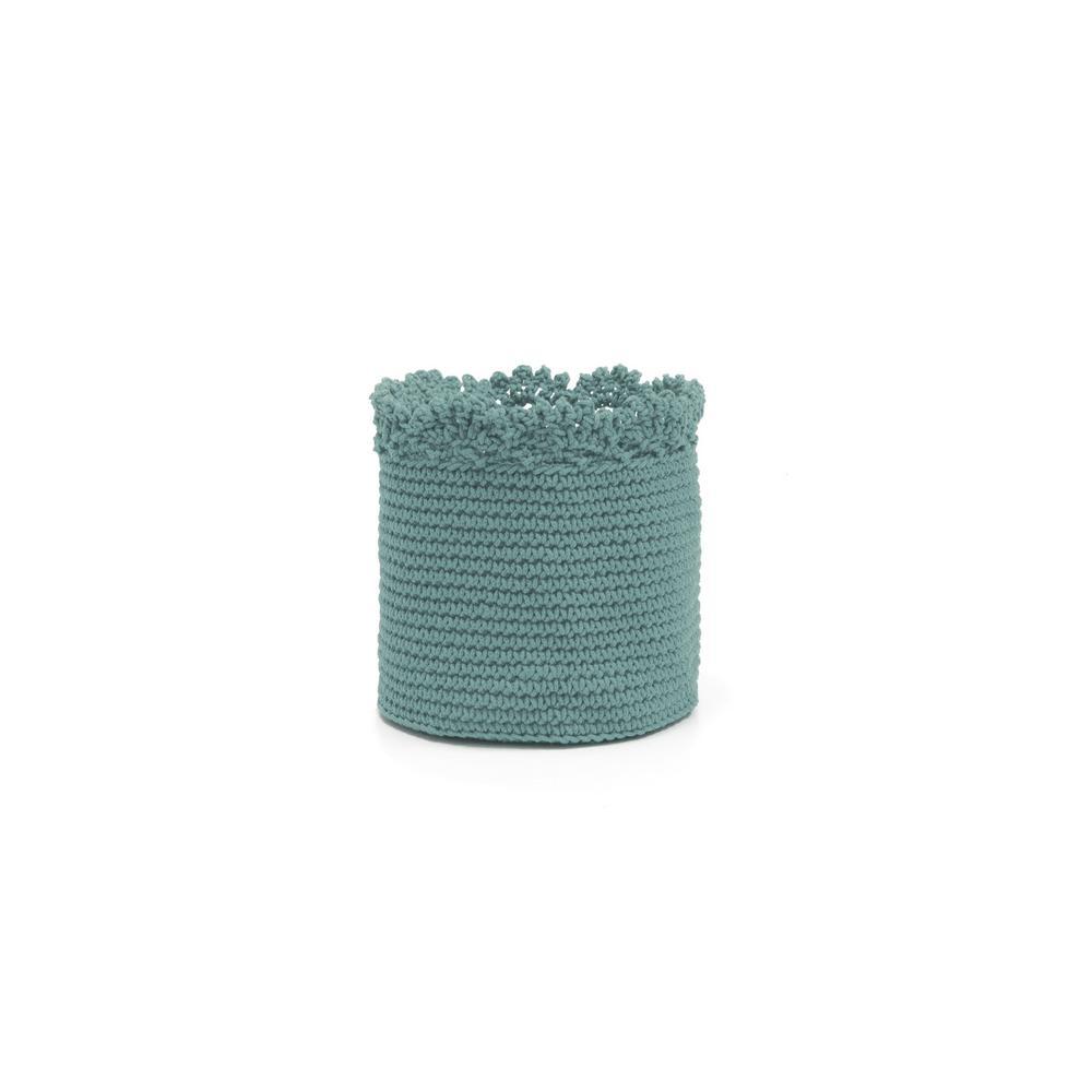 Heritage Lace Mod Crochet Round Polypropylene Basket, Grays