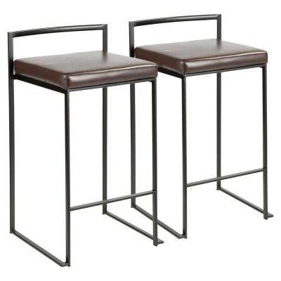 Fuji 26 in. Black Stackable Counter Stool with Brown Faux Leather Cushion (Set of 2)