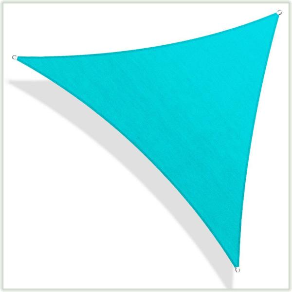 20 ft. x 20 ft. 190 GSM Turquoise Equilateral Triangle Sun Shade Sail Screen Canopy, Outdoor Patio and Pergola Cover