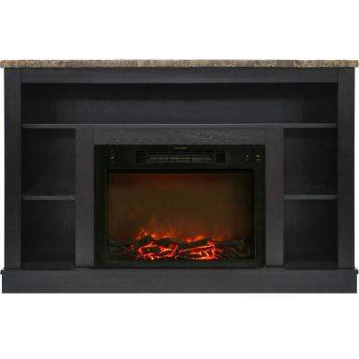 47 in. Electric Fireplace with a 1500-Watt Log Insert and Black Coffee Mantel