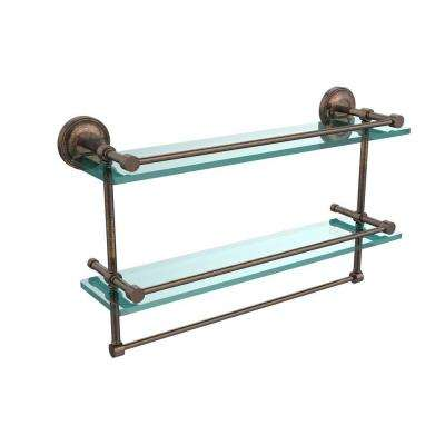 22 in. L  x 12 in. H  x 5 in. W 2-Tier Clear Glass Bathroom Shelf with Towel Bar in Venetian Bronze