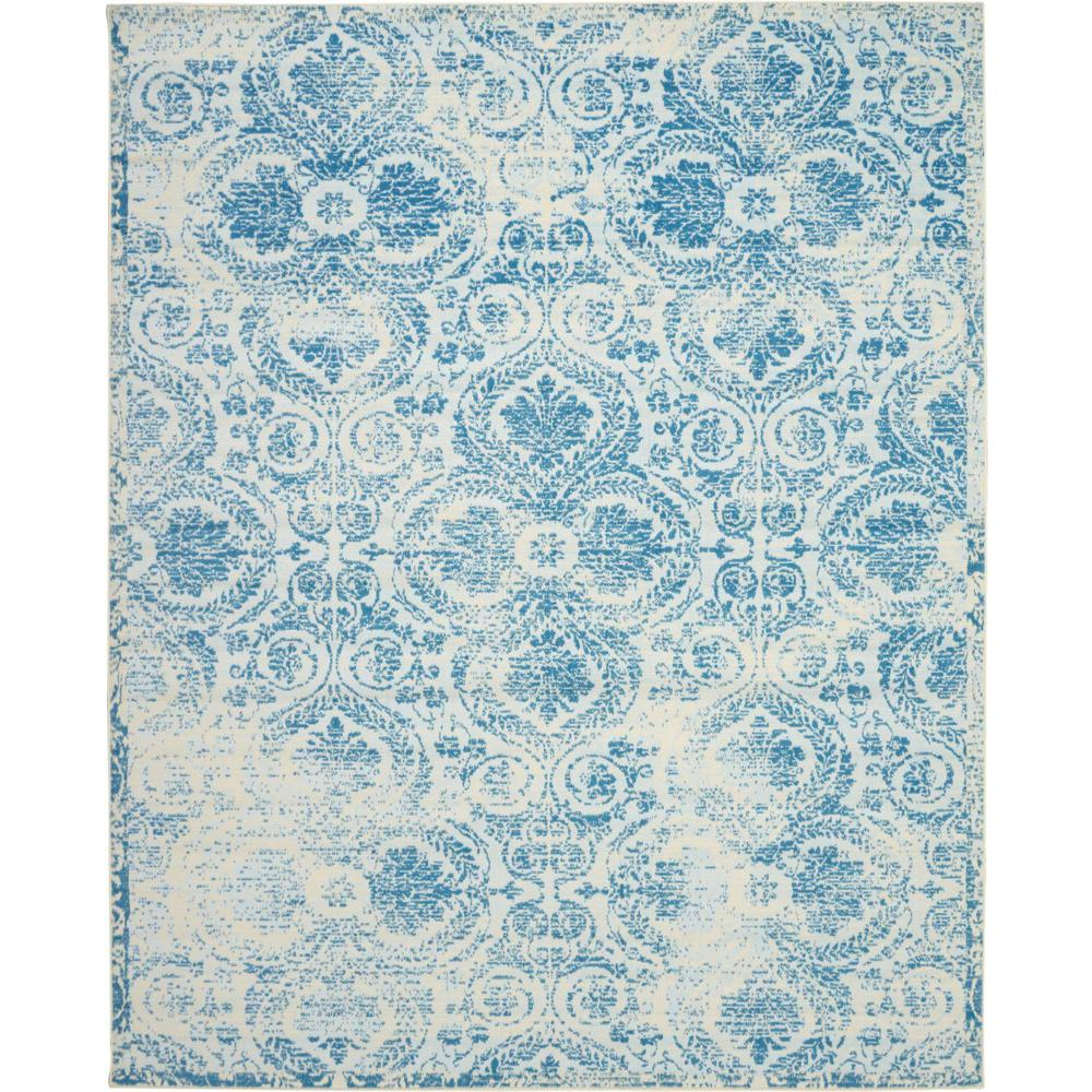 Nourison Jubilant JUB05 Teal Blue 8'x10' Large Low-pile