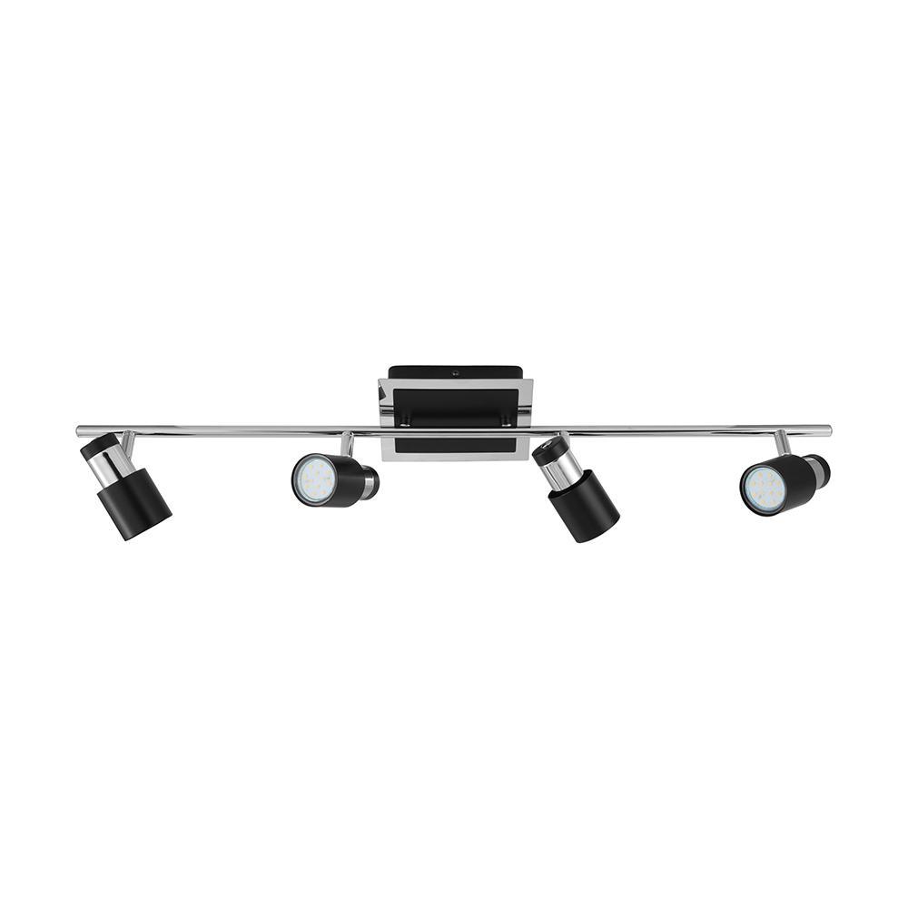 Davida-2 33.66 in. Matte Black/Chrome Halogen Track Lighting Kit with Black/Chrome Metal Shades