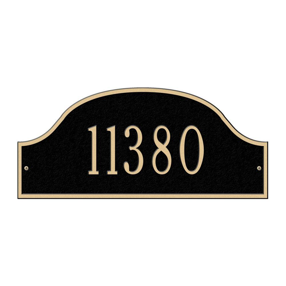 Admiral Standard Arch Black/Gold Wall One Line Address Plaque