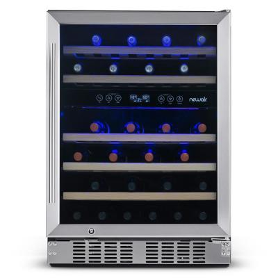 Dual Zone 24 in. 46-Bottle Built-In Wine Cooler Fridge with Recessed Kickplate and Quiet Operation in Stainless Steel
