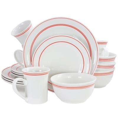 Porto 16-Piece Red Banded Dinnerware Set