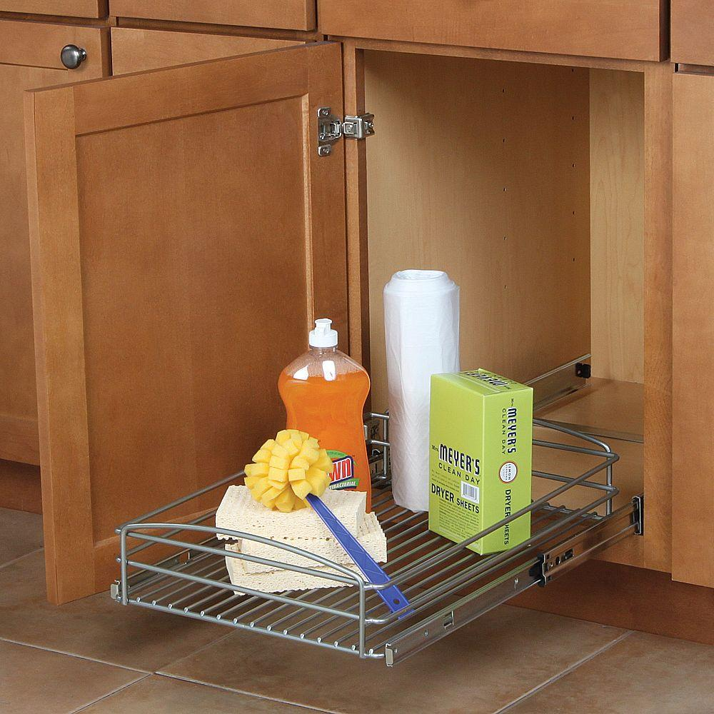 Real Solutions for Real Life 5 in. H x 15 in. W x 20 in. D Multi-Use Pull-Out Basket Cabinet Organizer in Silver