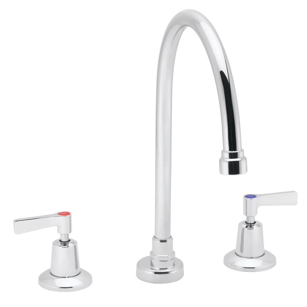 Commander 8 in. 2-Handle Gooseneck Widespread Lavatory Faucet in Polished Chrome