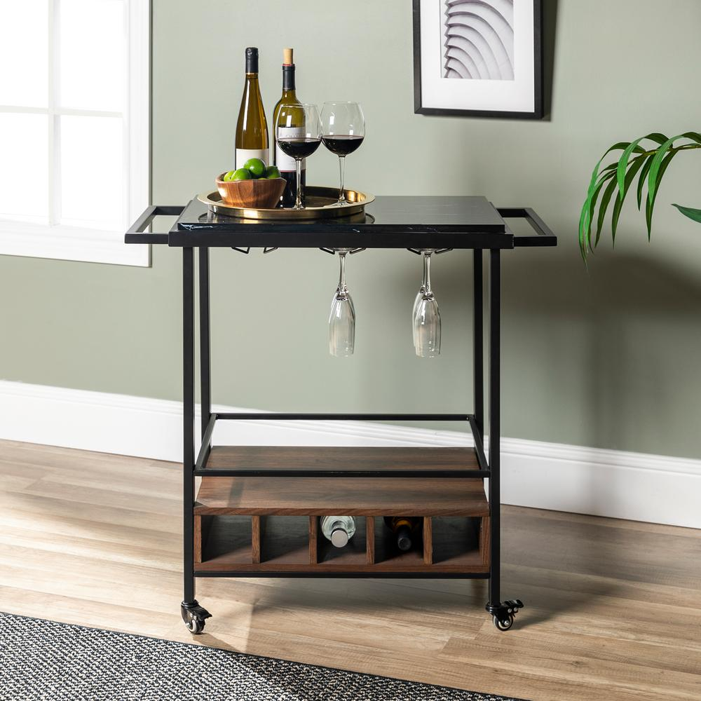 Walker Edison Furniture Company 34 In Black Marble Serving Bar Cart With Dark Walnut Base
