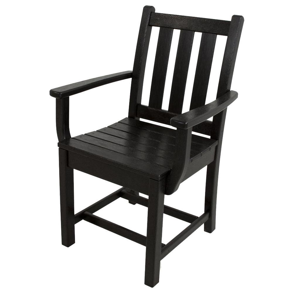 POLYWOOD Traditional Garden Black All-Weather Plastic Outdoor Dining Arm Chair