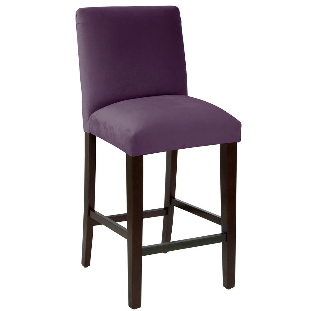 Velvet Aubergine Bar Stool With Diamond Tufted Back