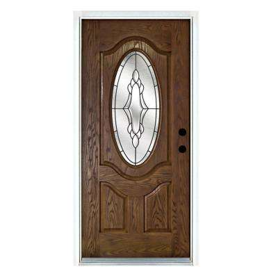 36 in. x 80 in. Andaman Medium Oak Left-Hand Inswing 3/4 Oval Lite Decorative Fiberglass Prehung Front Door