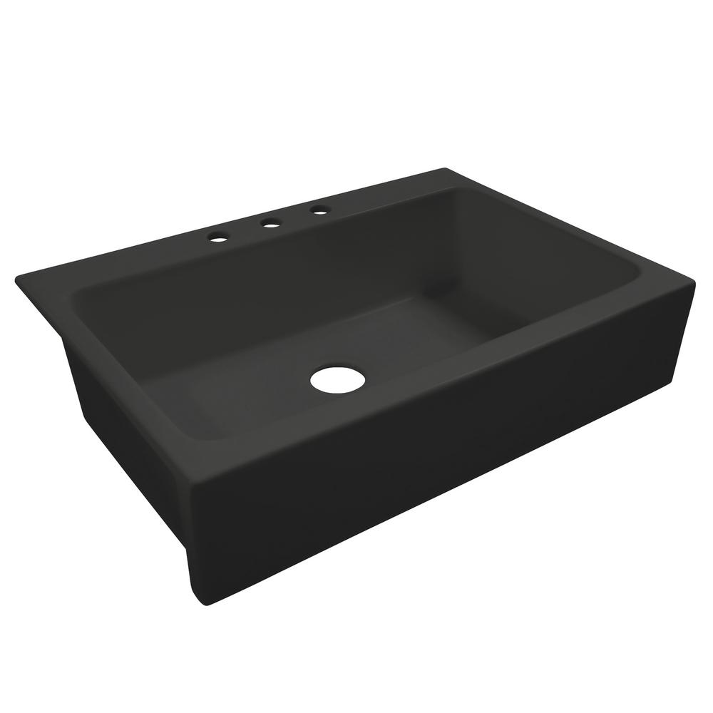 SINKOLOGY Josephine Quick-Fit Drop-in Farmhouse Fireclay 33.85 in. 3-Hole Single Bowl Kitchen Sink in Summer Night Matte Black