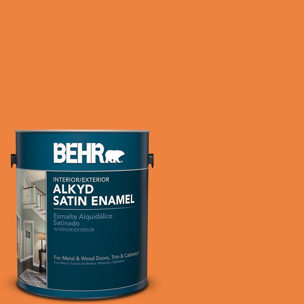1 gal. #P220-7 Construction Zone Satin Enamel Alkyd Interior/Exterior Paint