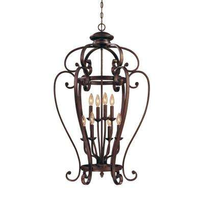 8-Light Rubbed Bronze Candle Pendant