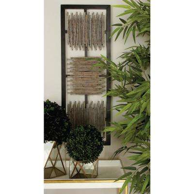 38 in. x 13 in. Modern MDF Wall Panel with Abstract Bamboo Stick Art in Matte Finish (2-Pack)