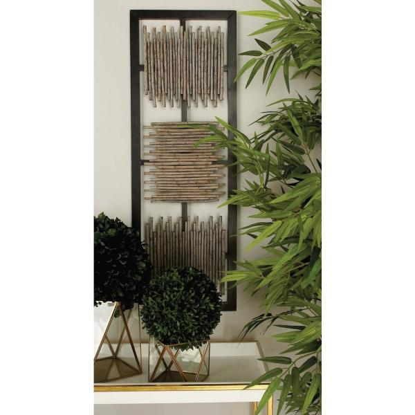 38 in  x 13 in  Modern MDF Wall Panel with Abstract Bamboo Stick Art in  Matte Finish (2-Pack)