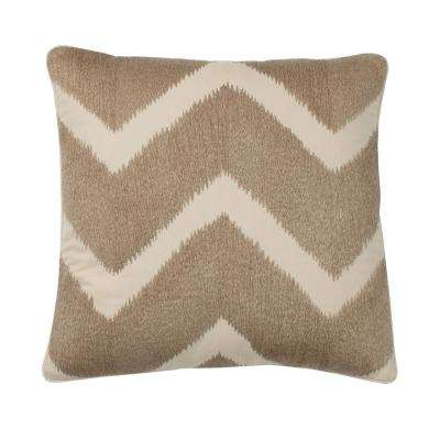 Embroidered Decorative Pillow Cover in Neutral Chevron, 20 in. x 20 in.